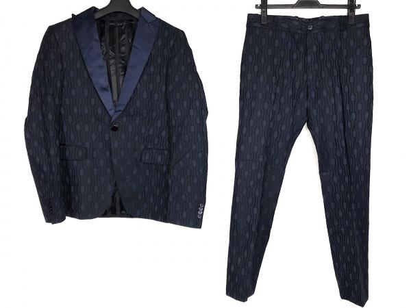 ディーゼルブラックゴールド シングルスーツ サイズ44 L メンズ ダークネイビー×黒