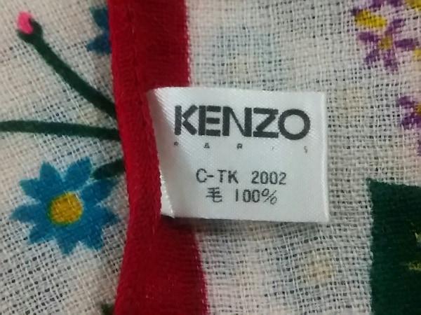 KENZO(ケンゾー) ストール(ショール)美品  アイボリー×レッド×マルチ 花柄 ウール