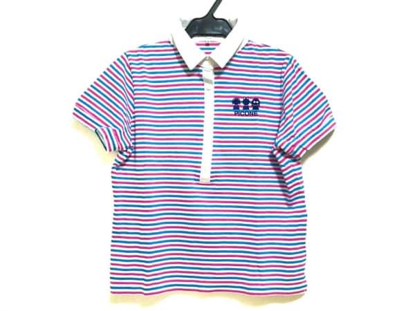 ピッコーネ 半袖ポロシャツ レディース美品  白×ピンク×ブルー ボーダー/ラメ