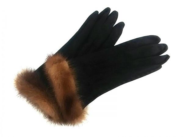 FENDI(フェンディ) 手袋 レディース美品  黒×ブラウン スエード×ミンク