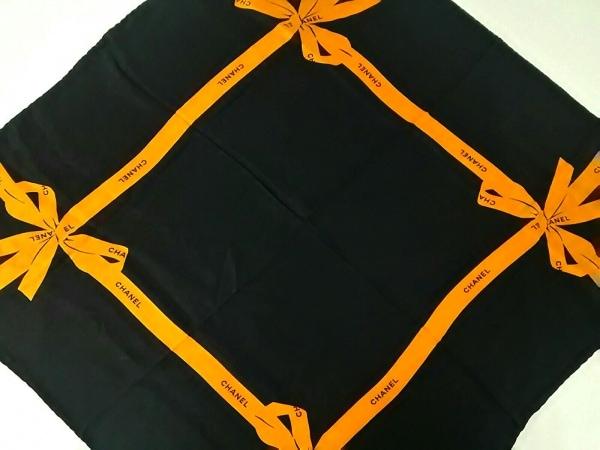 CHANEL(シャネル) スカーフ 黒×オレンジ リボン