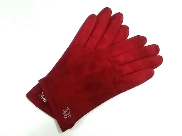 クリスチャンディオール 手袋 レディース美品  レッド ラインストーン スエード