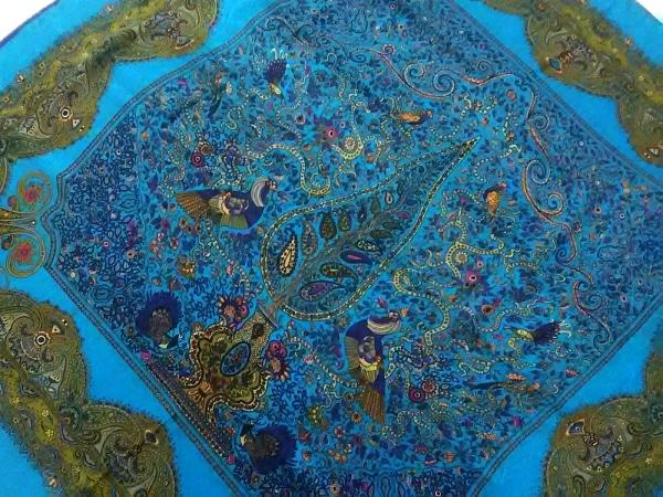 FENDI(フェンディ) スカーフ ブルー×マルチ ペイズリー柄