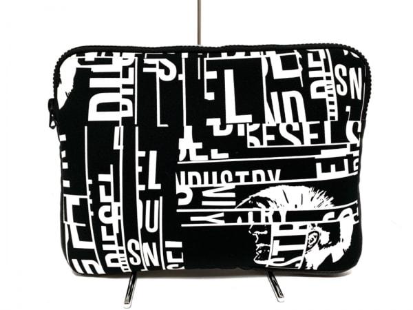 DIESEL(ディーゼル) バッグ 黒×白 PCケース 化学繊維×合皮