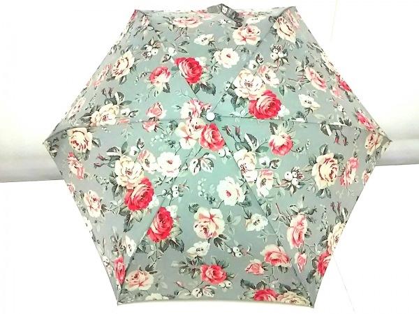 Cath Kidston(キャスキッドソン) 折りたたみ傘美品  グレー×マルチ 花柄 ナイロン