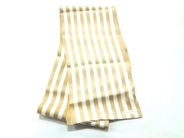 COACH(コーチ) スカーフ美品  ベージュ×アイボリー ストライプ 1