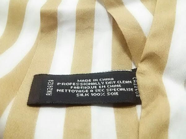 COACH(コーチ) スカーフ美品  ベージュ×アイボリー ストライプ 3