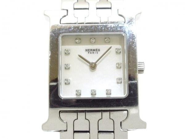エルメス 腕時計 Hウォッチ HH1.210 レディース ホワイトシェル×ダイヤモンド