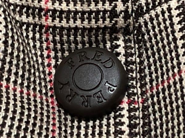 フレッドペリー ダウンジャケット サイズM レディース 黒×グレー×レッド