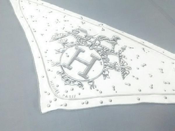 HERMES(エルメス) スカーフ ポワンテュー アイボリー×グレー