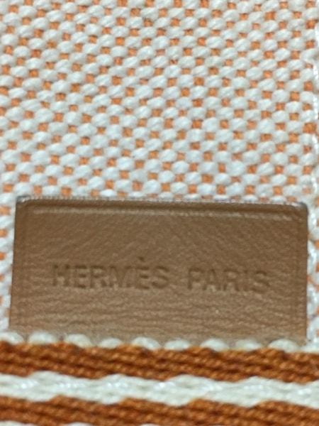HERMES(エルメス) トートバッグ ニューフールトゥトートMM オレンジ×アイボリー