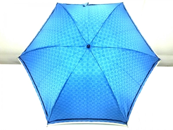 セリーヌ 折りたたみ傘 マカダム柄 ライトブルー×ネイビー×アイボリー 化学繊維