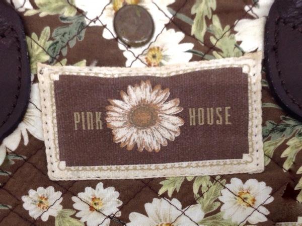 ピンクハウス ハンドバッグ ブラウン×アイボリー×グリーン キルティング/花柄