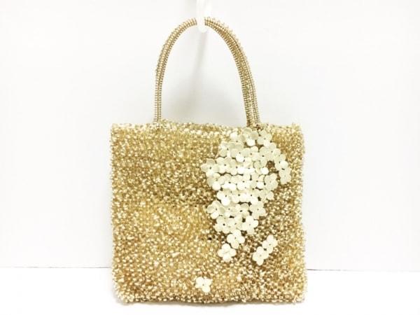 アンテプリマ ハンドバッグ美品  ワイヤーバッグ シャンパンゴールド フラワー