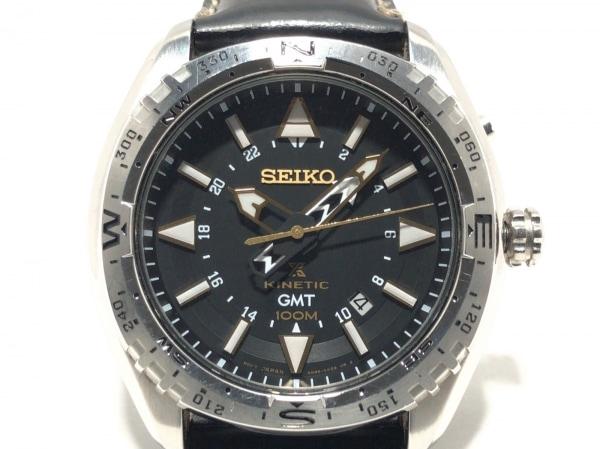 SEIKO(セイコー) 腕時計 プロスペックキネティック 5M85-0AE0 メンズ 革ベルト 黒