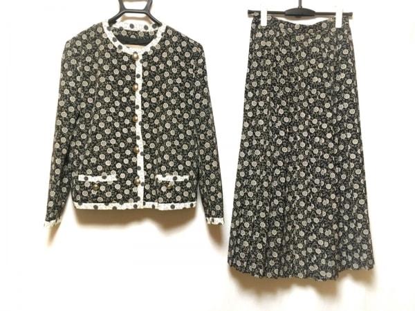 ノコオーノ スカートスーツ レディース美品  黒×アイボリー×マルチ 花柄/プリーツ