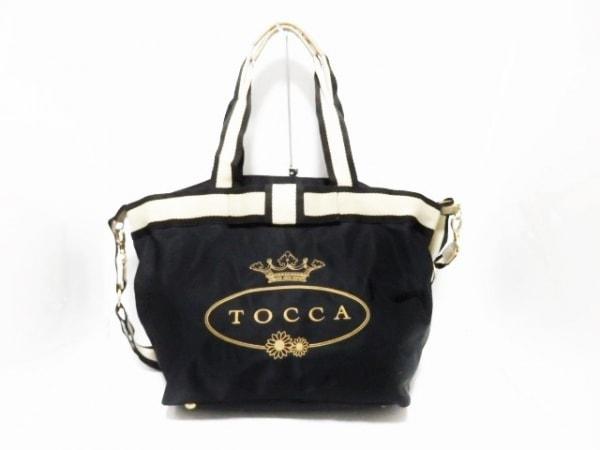 TOCCA(トッカ) ハンドバッグ 黒×ゴールド×ベージュ リボン/刺繍 ナイロン
