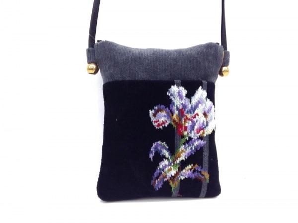 FEILER(フェイラー) ショルダーバッグ 黒×ダークグレー×マルチ 花柄 パイル