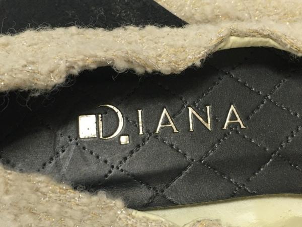 DIANA(ダイアナ) フラットシューズ 21 2/1 レディース ベージュ×黒 ビジュー/リボン