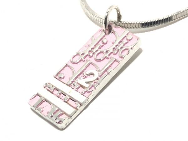 クリスチャンディオール ネックレス トロッター 金属素材 シルバー×ピンク
