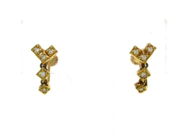 タサキシンジュ イヤリング美品  K18YG×ダイヤモンド 片側0.06カラット/片側5Pダイヤ