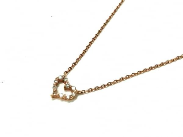 アガット ネックレス美品  K10×ダイヤモンド ハート/0.06カラット 1