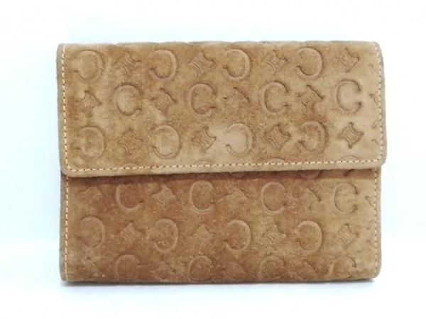 CELINE(セリーヌ) 3つ折り財布 Cマカダム柄 ライトブラウン 型押し加工 スエード