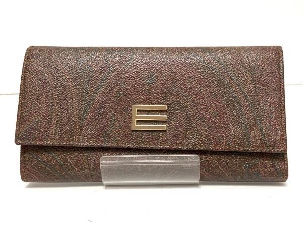 ETRO(エトロ) 長財布 ダークブラウン×ボルドー×マルチ PVC(塩化ビニール)