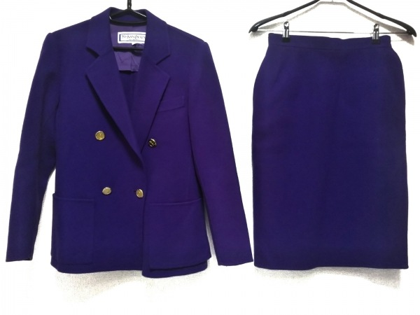 イヴサンローラン スカートスーツ サイズM レディース美品  パープル
