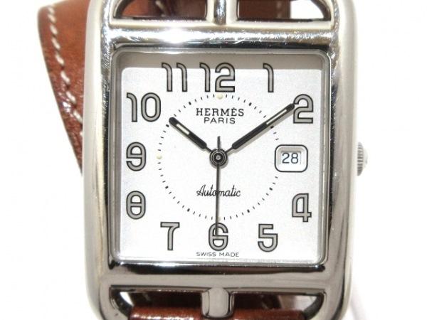 エルメス 腕時計 ケープコッド Wトゥール CC1.710 レディース 革ベルト/□D 白