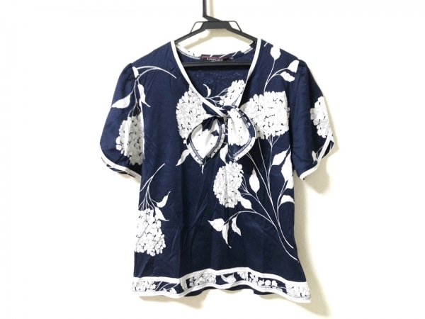 LEONARD(レオナール) 半袖カットソー サイズLL レディース ネイビー×白 花柄