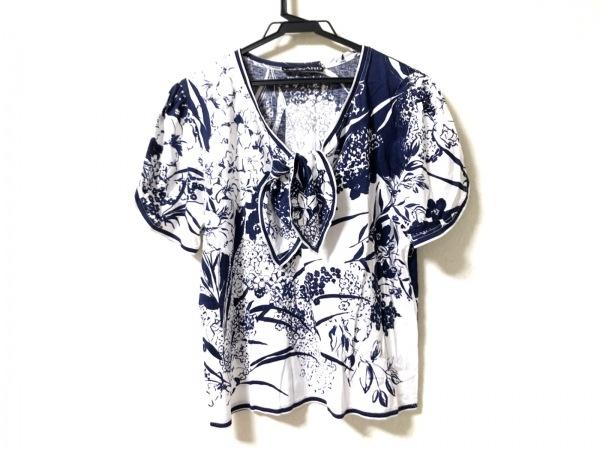LEONARD(レオナール) 半袖カットソー サイズL レディース 白×ネイビー 花柄