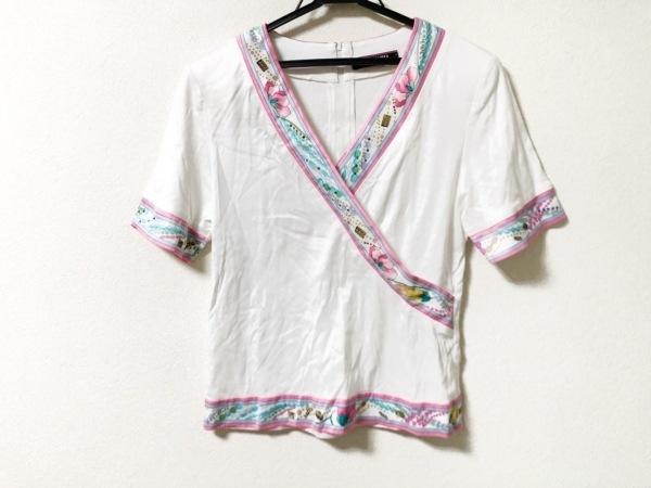 LEONARD(レオナール) 半袖カットソー サイズL レディース美品  白×ピンク×マルチ