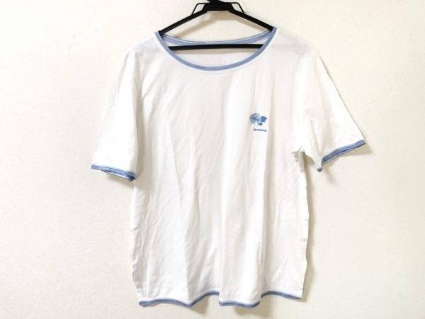 LEONARD(レオナール) 半袖Tシャツ サイズL レディース 白×ライトブルー 刺繍
