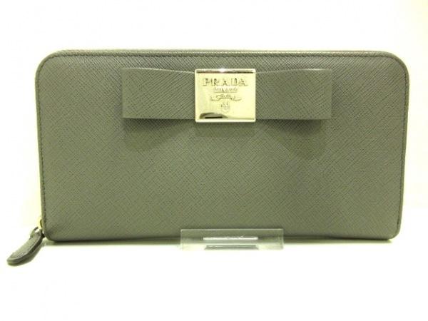 プラダ 長財布 - 1ML506 グレー ラウンドファスナー/リボン サフィアーノフィオッコ