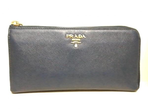 PRADA(プラダ) 長財布 - ブルー L字ファスナー レザー