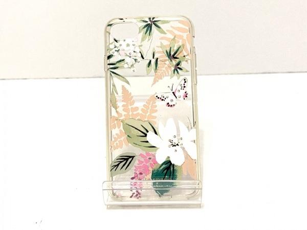 ケイトスペード 携帯電話ケース クリア×白×マルチ 花柄/蝶/iPhoneケース