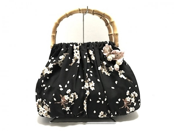 PINK HOUSE(ピンクハウス) トートバッグ美品  黒×マルチ 花柄 化学繊維×バンブー