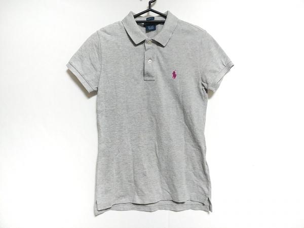 ラルフローレン 長袖ポロシャツ サイズS レディース グレー×ピンク 刺繍