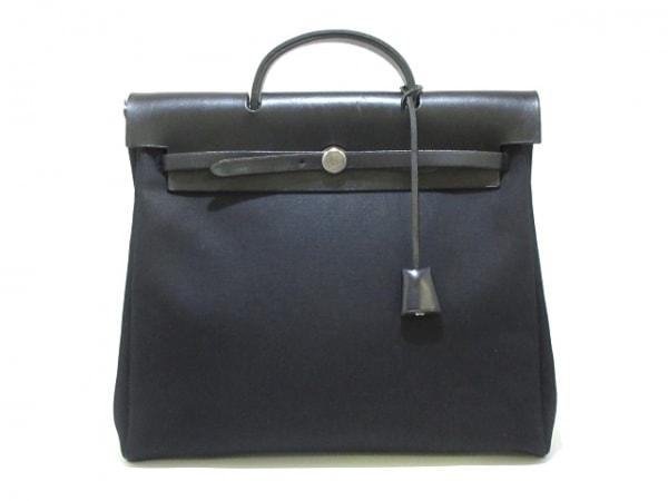 HERMES(エルメス) ハンドバッグ エールバッグMM 黒 トワルオフィシエ×ボックスカーフ