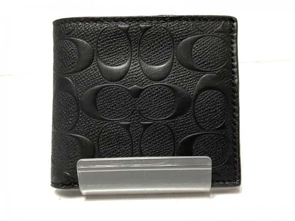COACH(コーチ) 2つ折り財布 シグネチャー柄 F75363 黒 レザー