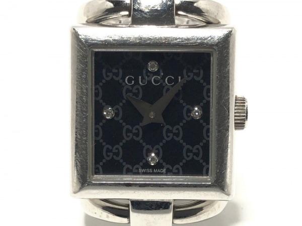 グッチ 腕時計 トルナブォーニスクエア 120 レディース 4Pダイヤ/GG柄文字盤 黒