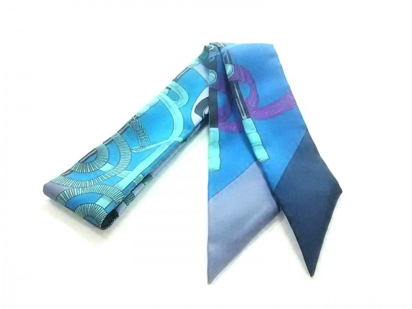 HERMES(エルメス) スカーフ ツィリー パープル×ライトグリーン×マルチ