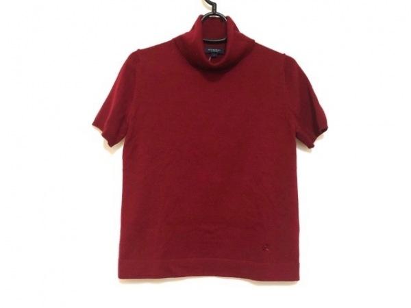 バーバリーロンドン 半袖セーター サイズ1 S レディース美品  レッド タートルネック