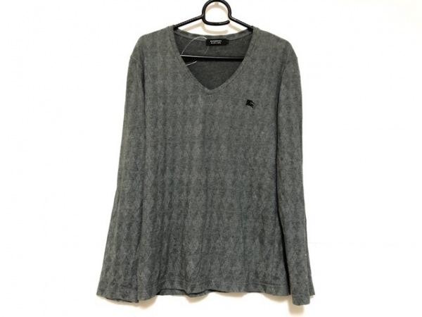 バーバリーブラックレーベル 長袖Tシャツ サイズ2 M メンズ グレー アーガイル
