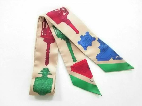 エルメス スカーフ美品  ツィリー 063081S 12 ライトブラウン×ブルー×マルチ