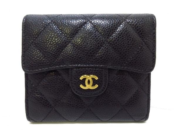 CHANEL(シャネル) 3つ折り財布美品  マトラッセ A82288 黒 ゴールド金具