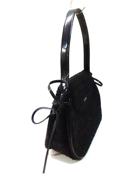 サマンサベガ ハンドバッグ美品  黒 ツイード/リボン/ラメ 2
