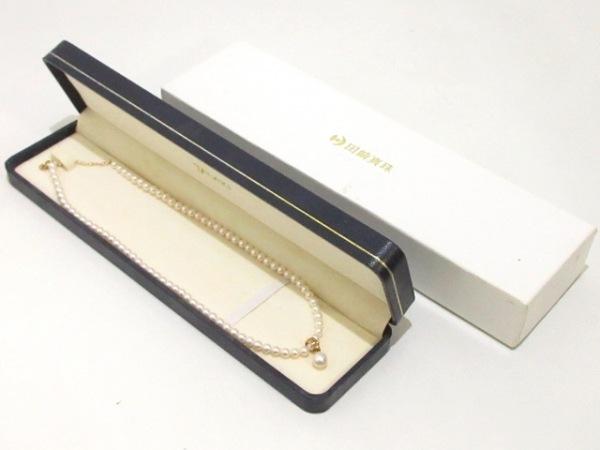 タサキシンジュ ネックレス美品  パール×K18YG アイボリー チェーンパールの直径4mm