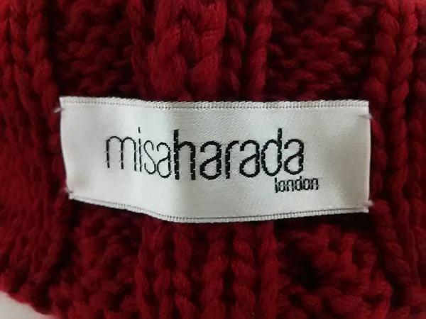ミサハラダ ニット帽新品同様  レッド×ブラウン×白 ウール 4